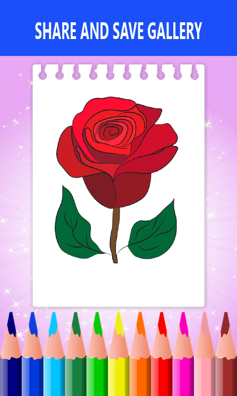 Android Flower Drawing and Coloring Book Screen 3