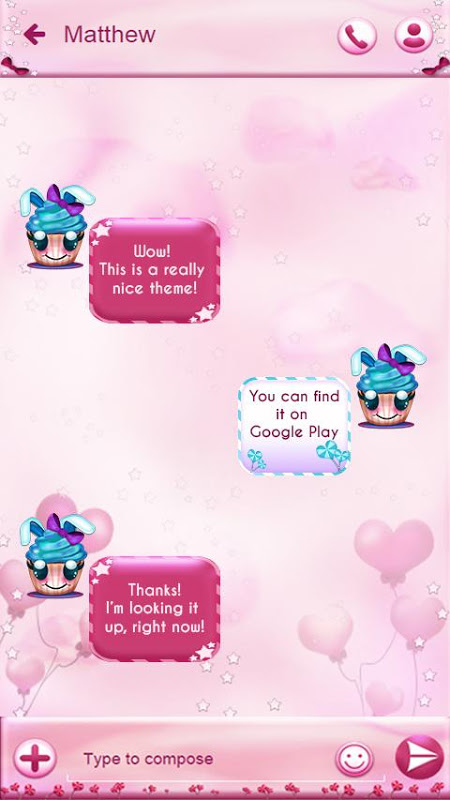 Android Cute Cupcakes SMS Screen 1