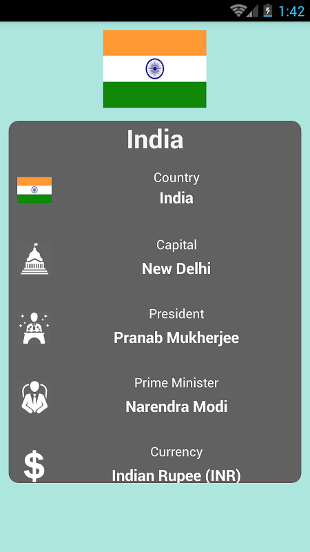 Android Countries and Capitals Screen 2