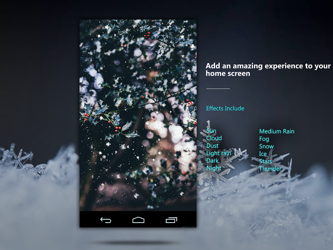 Android Weather: Weatherback, Effects on your homescreen Screen 9