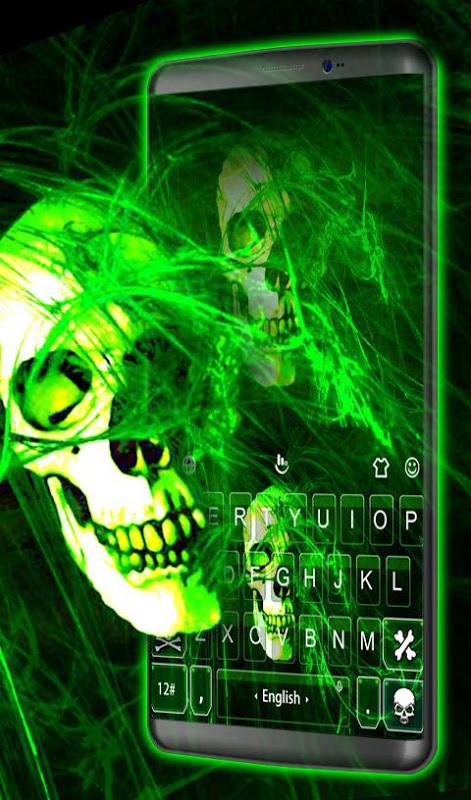 Android Neon Green Light Skull Keyboard Theme Screen 3