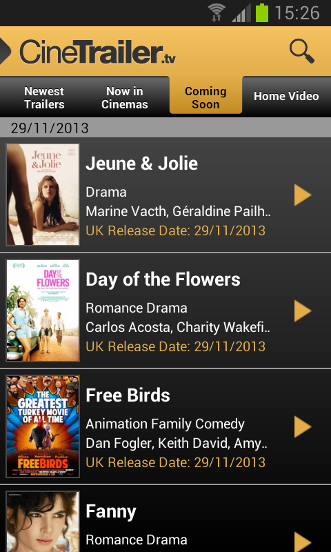 Android CineTrailer Cinema & Showtimes Screen 13