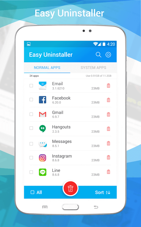 Uninstall apps 1.3 Screen 11