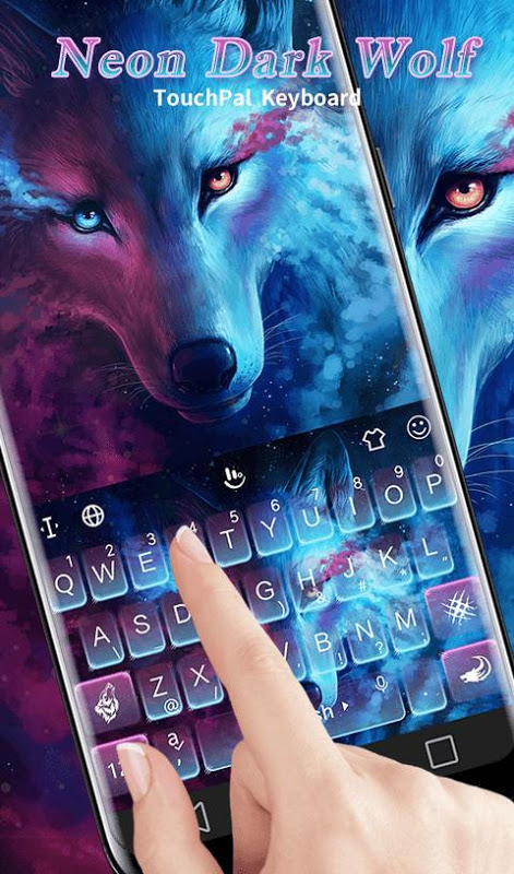 Android Blue Night Neon Dark Wolf Keyboard Theme Screen 5