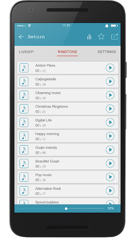 Android Super Popular Ringtone Ranking Screen 1