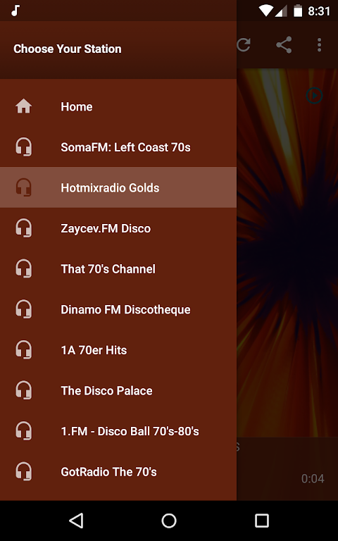 Android Live Radio 70s Screen 3