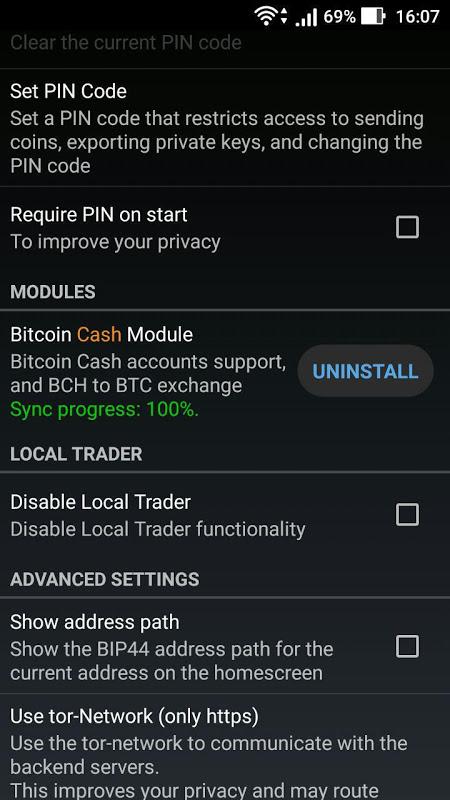 Mycelium Bitcoin Cash Module 3.0.9.5 Screen 2