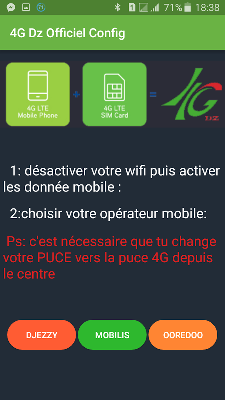 Android 4G Dz configuration officiel Screen 1