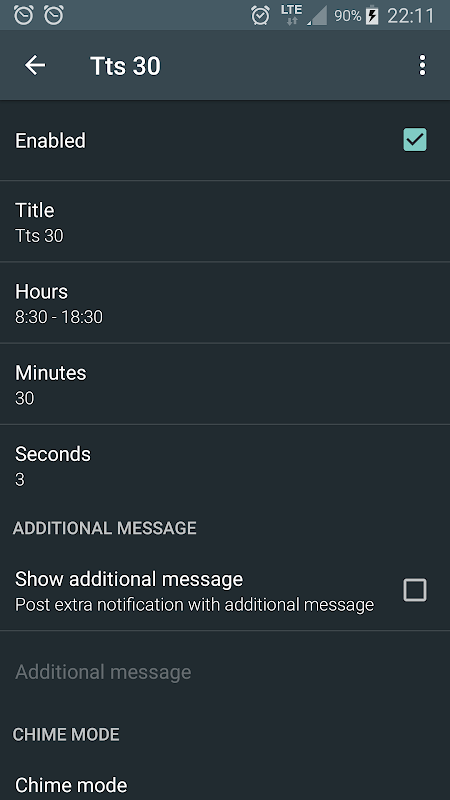 Android Hourly chime Screen 1